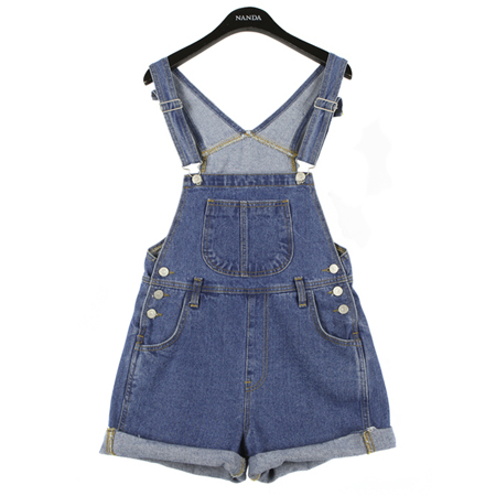 casual denim suspender shorts