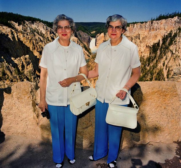 Twins-with-Matching-Outfits-at-Lower-Falls-Overlook-Yellowstone-National-Park-WY-19802